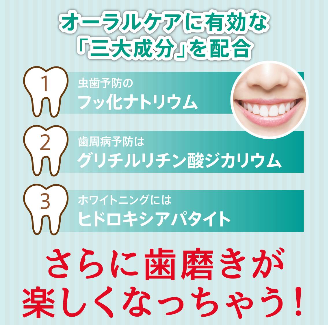 オーラルケアに有効な「三大成分」を配合 1虫歯予防のフッ化ナトリウム 2歯周病予防はグリチルリチン酸ジカリウム