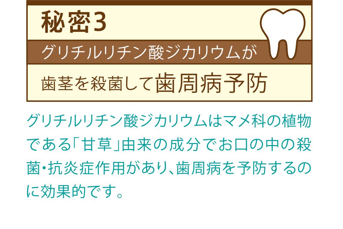 秘密3 グリチルリチン酸ジカリウムが歯茎を殺菌して歯周病予防