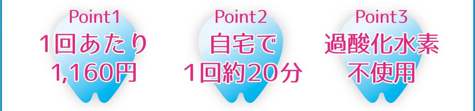 Point1 1回あたり945円※送料・税除く/Point2 自宅で1回約20分/Point3 過酸化水素不使用