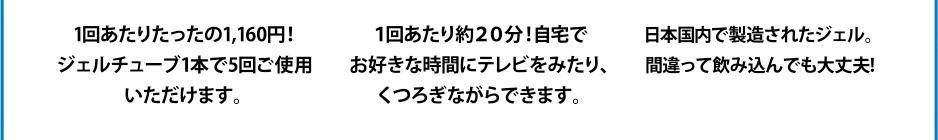 1回あたりたったの945円!ジェルチューブ1本で5回ご使用いただけます。/1回あたり約20分!自宅で お好きな時間にテレビをみたり、 くつろぎながらできます。/日本国内で製造されたジェル。間違って飲み込んでも大丈夫!